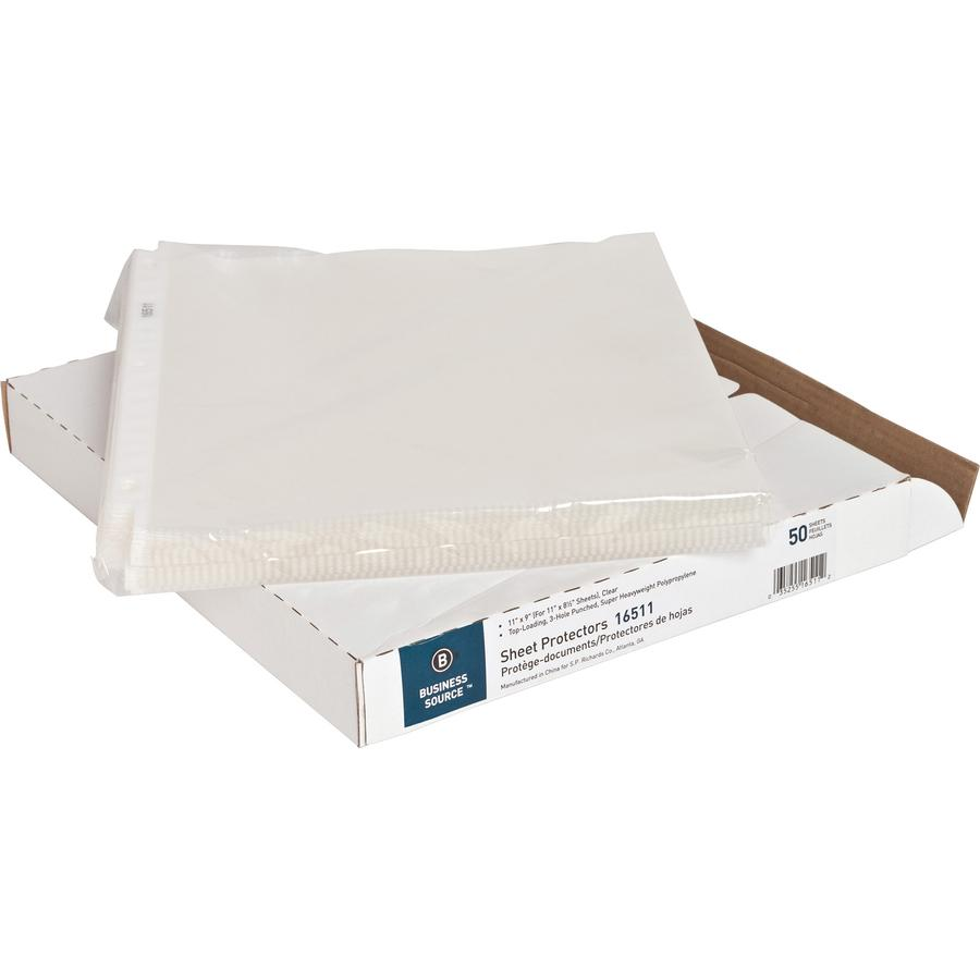 """Business Source Top-Loading Poly Sheet Protectors - 5 mil Thickness - For Letter 8 1/2"""" x 11"""" Sheet - Rectangular - Clear - Polypropylene - 50 / Box. Picture 4"""