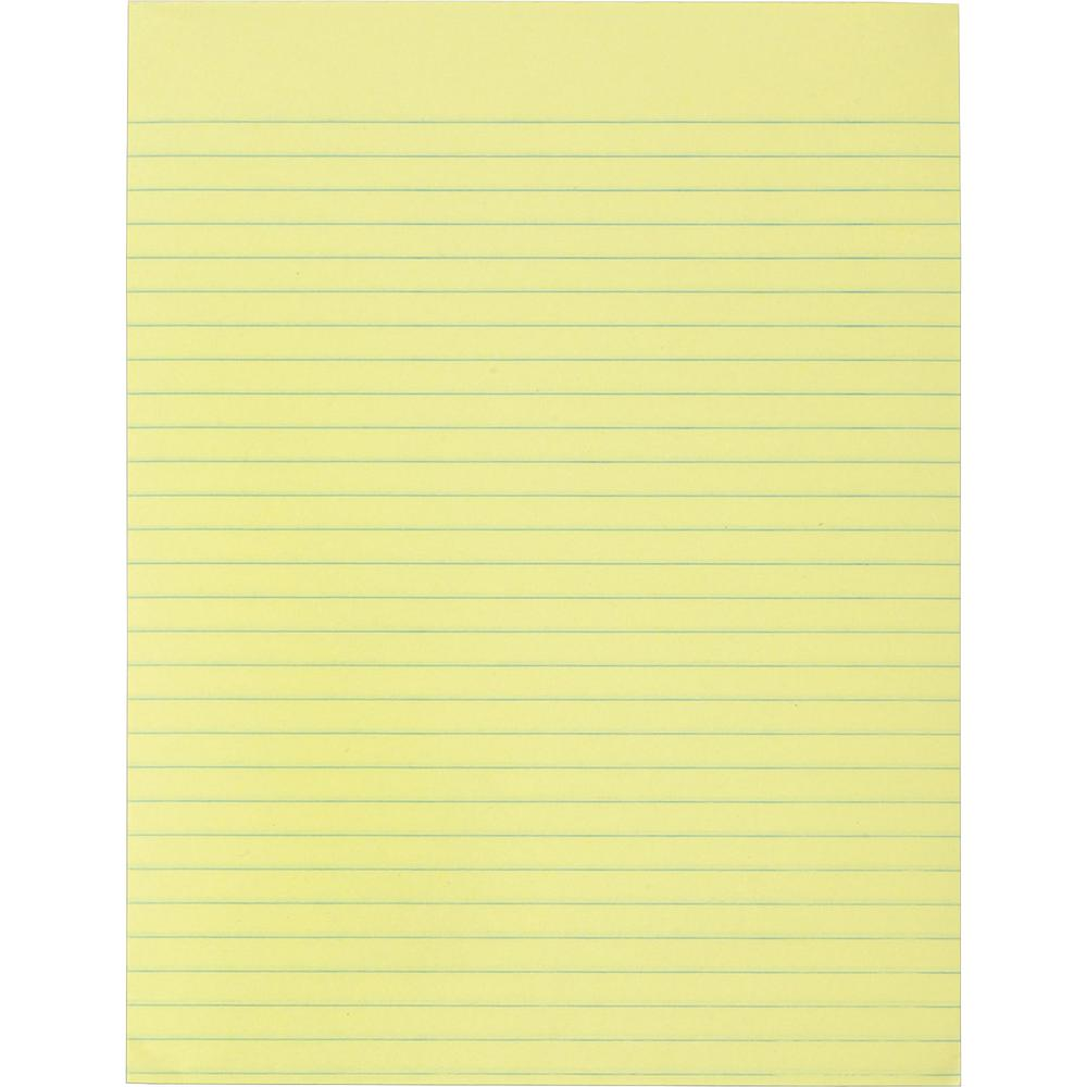 "Business Source Glued Top Ruled Memo Pads - Letter - 50 Sheets - Glue - 16 lb Basis Weight - 8 1/2"" x 11"" - Canary Paper - 12 / Dozen. Picture 2"