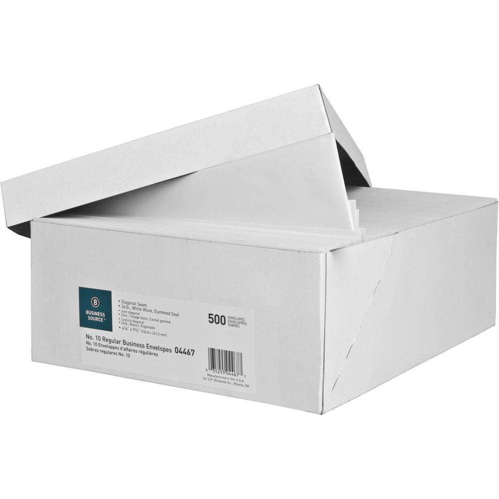 "Business Source No. 10 White Wove V-Flap Business Envelopes - Business - #10 - 9 1/2"" Width x 4 1/8"" Length - 24 lb - Gummed - Wove - 500 / Box - White. Picture 3"