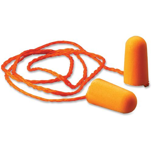 3M 1110 Corded Foam Earplugs - Comfortable, Smooth Surface, Dirt Resistant, Disposable, Dielectric, Corded, Hypoallergenic - Noise Protection - Polyurethane - Orange - 100 / Box