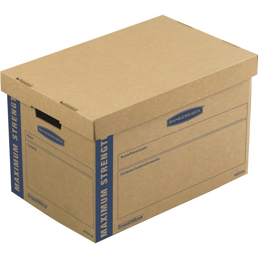 """Bankers Box Bankers® Box Smoothmove™ Maximum Strength Moving Boxes, Medium, 8 Pack, 12""""H x 12.25""""W x 18.5""""D (7710301) - Internal Dimensions: 12.25"""" Width x 18.50"""" Depth x 12"""" Height - Extern"""