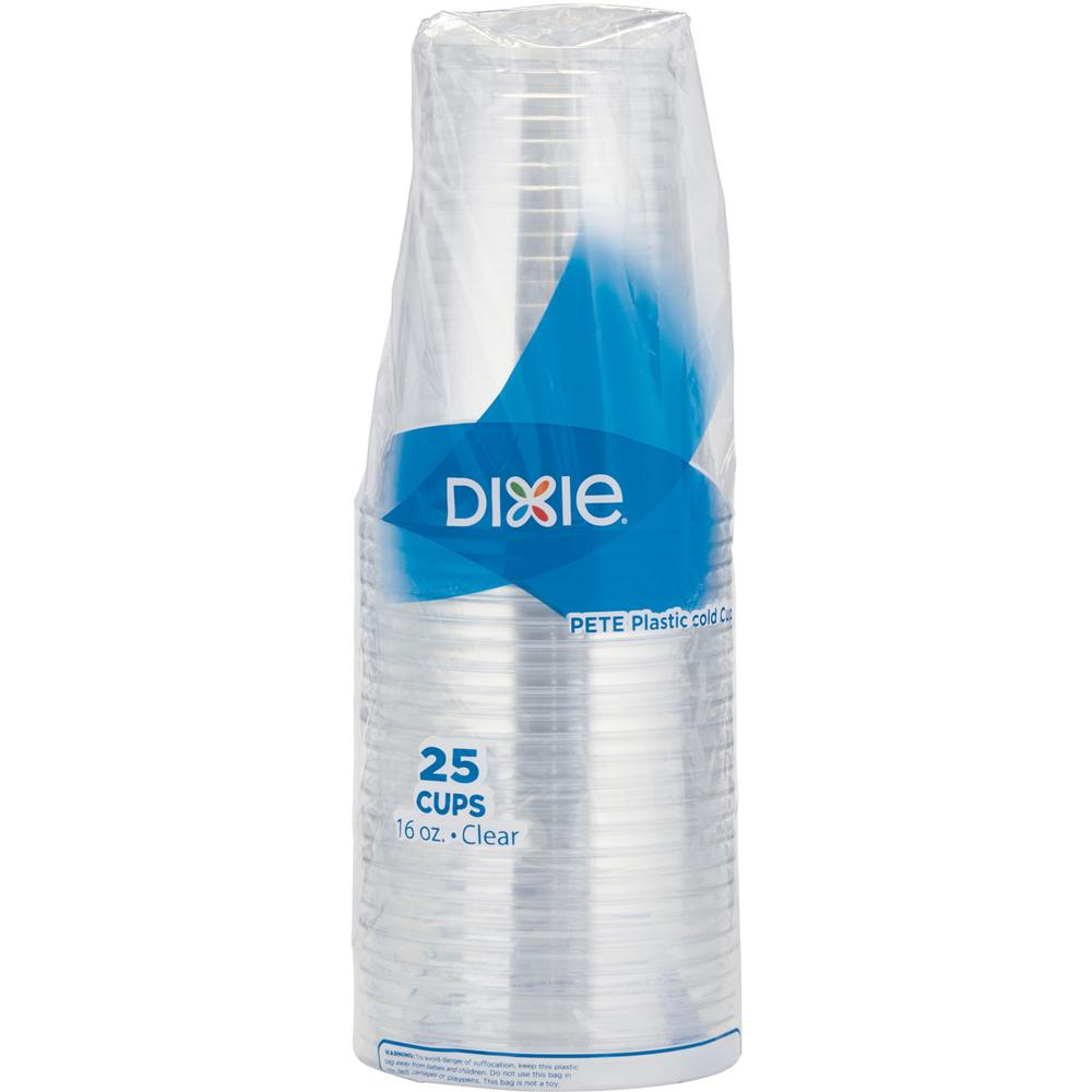 Dixie Cold Cups by GP Pro - 16 fl oz - 25 / Pack - Clear - PETE Plastic - Soda, Iced Coffee, Sample, Breakroom, Restaurant, Lobby, Coffee Shop. Picture 4
