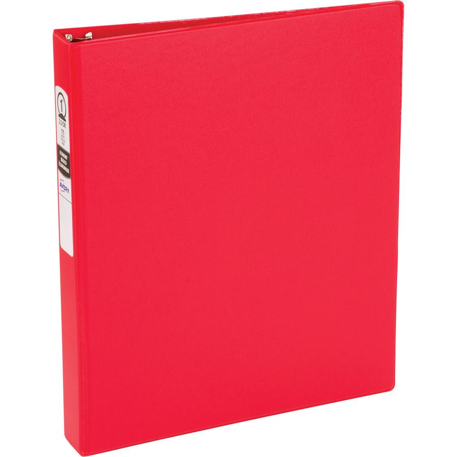 """Avery® Economy Binder - 1"""" Binder Capacity - Letter - 8 1/2"""" x 11"""" Sheet Size - 175 Sheet Capacity - 3 x Round Ring Fastener(s) - 2 Internal Pocket(s) - Vinyl - Red - Recycled - Non Locking Mechan. Picture 4"""