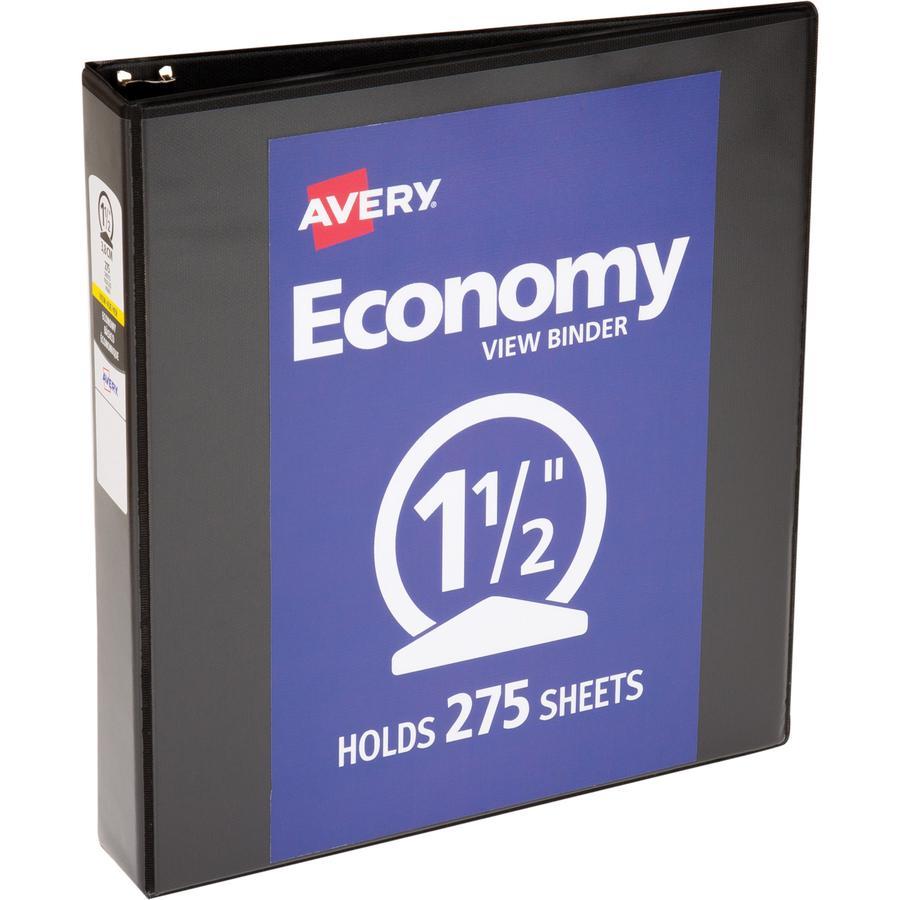 "Avery® Economy View Binder - 1 1/2"" Binder Capacity - Letter - 8 1/2"" x 11"" Sheet Size - 275 Sheet Capacity - 3 x Round Ring Fastener(s) - 2 Internal Pocket(s) - Vinyl - Black - 15.84 oz - Gap-fre. Picture 6"