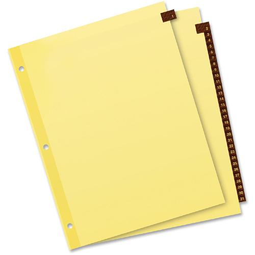 """Avery® Preprinted Tab Dividers - Clear Reinforced Edge - 31 Printed Tab(s) - Digit - 1-31 - 31 Tab(s)/Set - 8.5"""" Divider Width x 11"""" Divider Length - Letter - 3 Hole Punched - Buff Paper Divider -. Picture 3"""