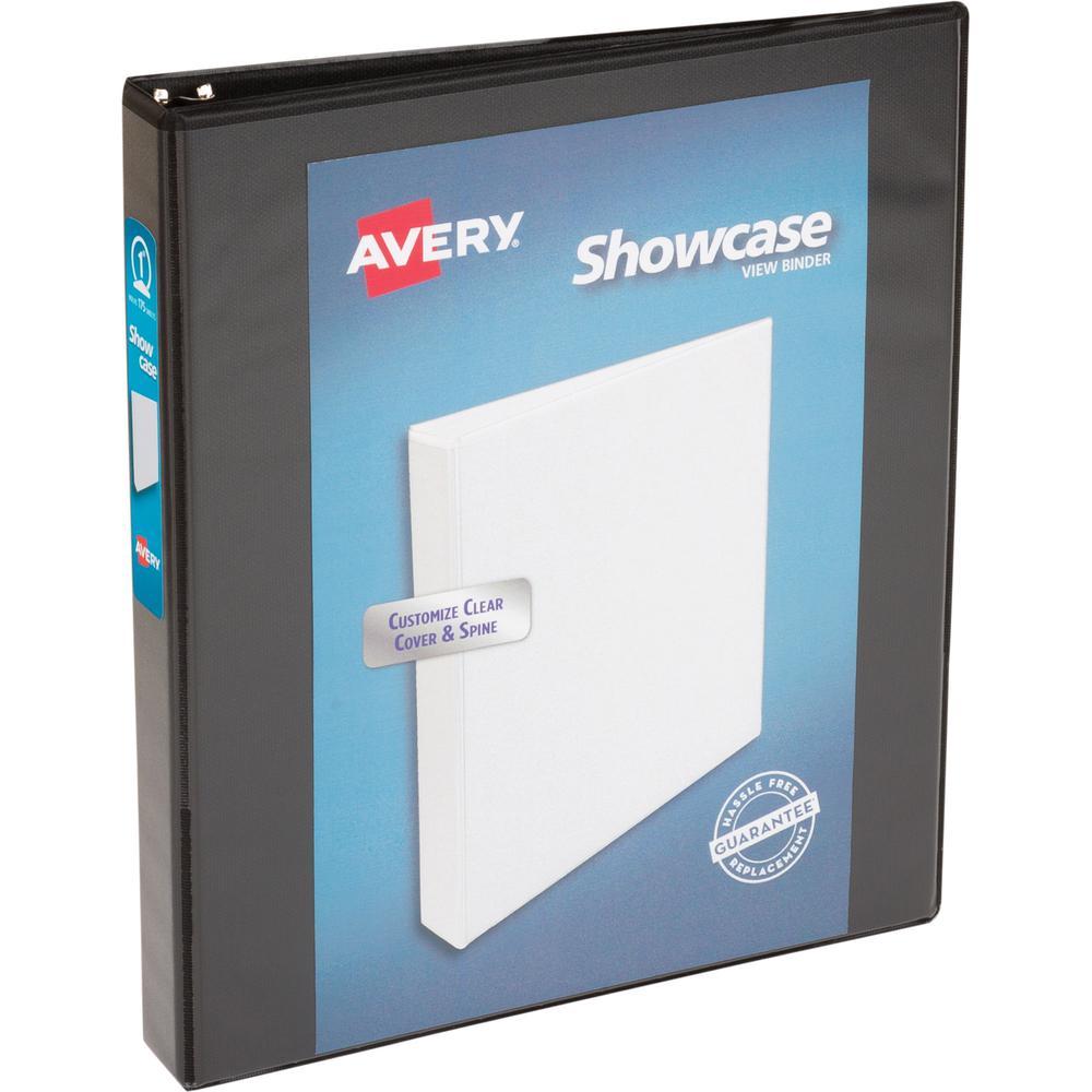 "Avery® Showcase Economy View Binder - 1"" Binder Capacity - Letter - 8 1/2"" x 11"" Sheet Size - 175 Sheet Capacity - Ring Fastener(s) - 2 Internal Pocket(s) - Black - 14.72 oz - 1 Each. Picture 3"