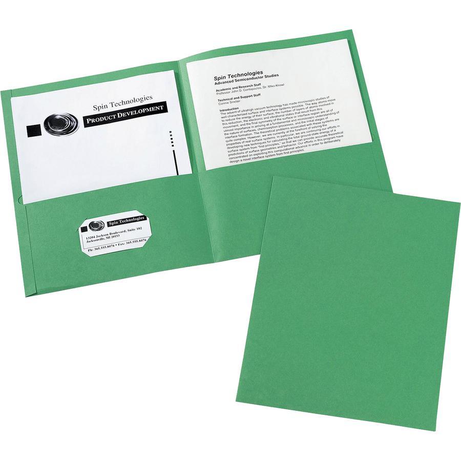 "Avery® Letter Pocket Folder - 8 1/2"" x 11"" - 40 Sheet Capacity - 2 Internal Pocket(s) - Embossed Paper - Green - 25 / Box. Picture 2"