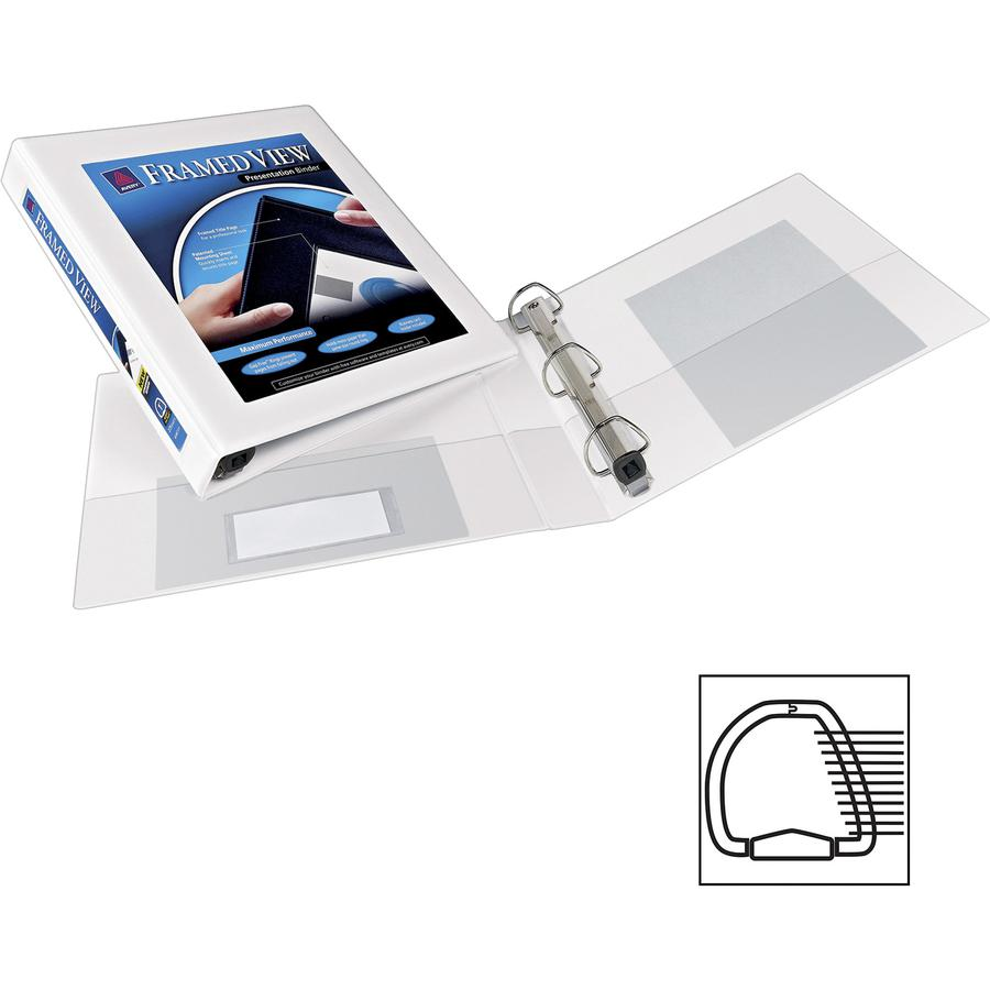 """Avery® Heavy-Duty Framed View 3-Ring Binder - 1"""" Binder Capacity - Letter - 8 1/2"""" x 11"""" Sheet Size - 275 Sheet Capacity - 3 x Ring Fastener(s) - 2 Internal Pocket(s) - Vinyl - White - Recycled - . Picture 4"""