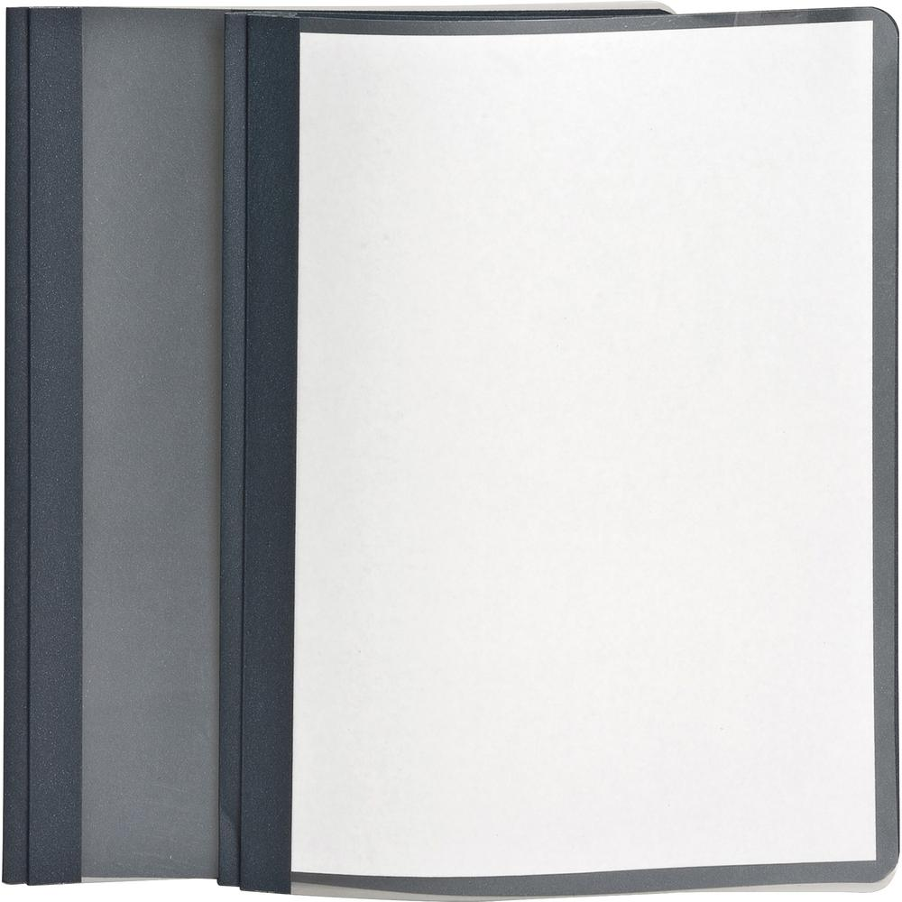 """Oxford Letter Recycled Report Cover - 8 1/2"""" x 11"""" - 100 Sheet Capacity - 3 x Tang Fastener(s) - 1/2"""" Fastener Capacity for Folder - Leatherette - Dark Blue, Clear - 10% - 25 / Box. Picture 3"""