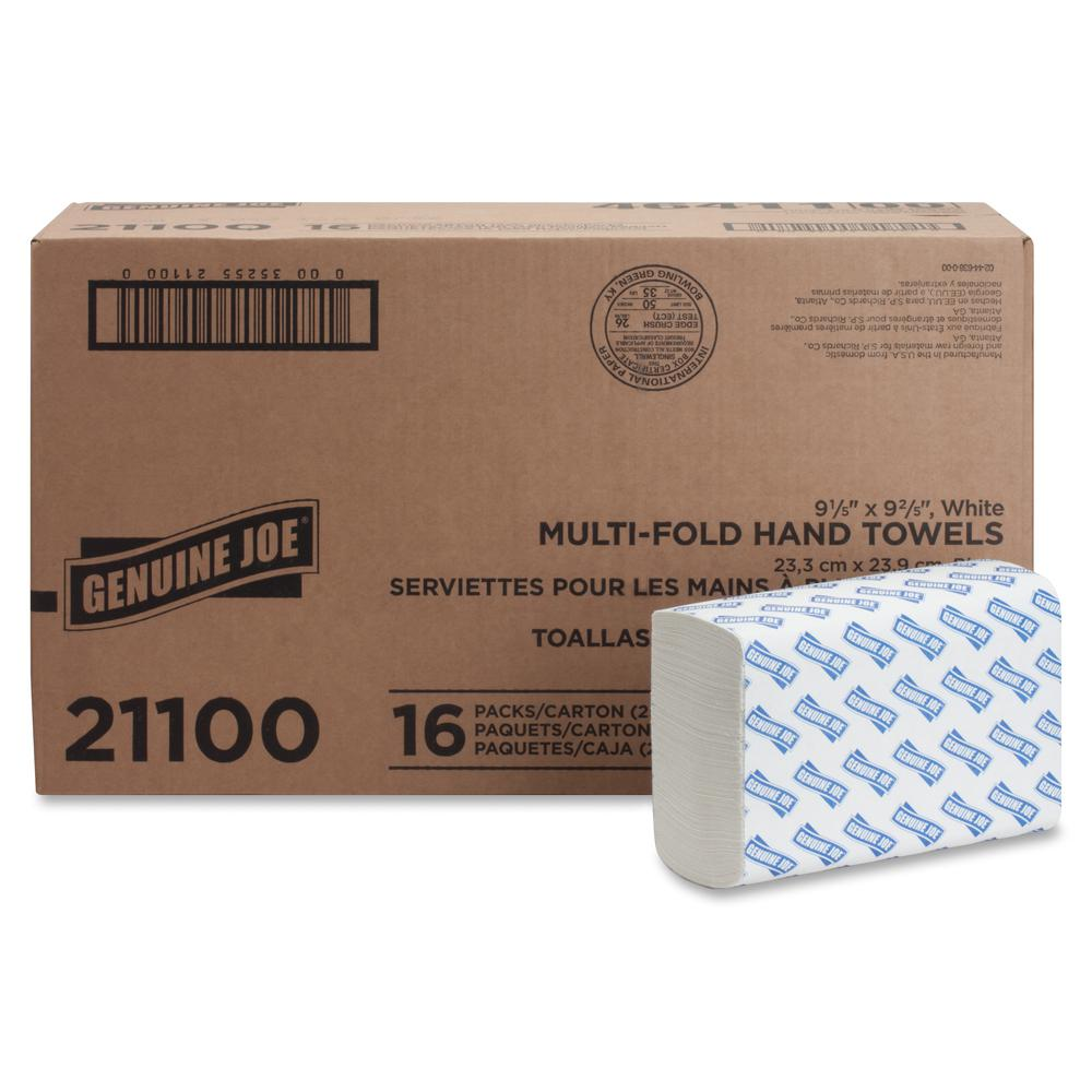 """Genuine Joe Multifold Towels - 1 Ply - 9.20"""" x 9.40"""" - White - Interfolded, Embossed, Anti-contamination, Chlorine-free - For Restroom, Public Facilities - 250 Quantity Per Bundle - 4000 / Carton. Picture 4"""