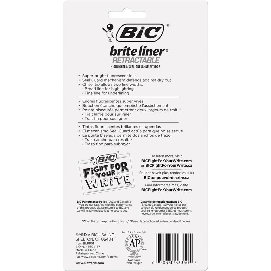 BIC Brite Liner Retractable Highlighters - Chisel Marker Point Style - Retractable - Assorted - 5 / Set. Picture 5