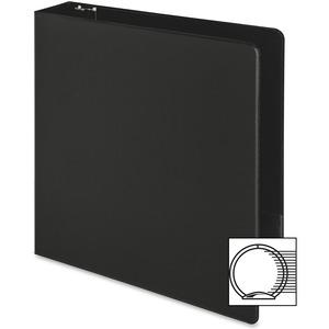 "Business Source Basic Round-ring Binder - 2"" Binder Capacity - Letter - 8 1/2"" x 11"" Sheet Size - 3 x Round Ring Fastener(s) - Inside Front & Back Pocket(s) - Vinyl - Black - 1 lb - Recycled - Exposed. Picture 10"