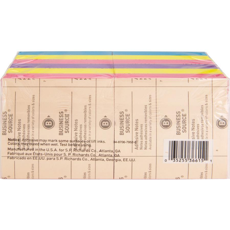 """Business Source 3x3 Extreme Colors Adhesive Notes - 100 - 3"""" x 3"""" - Square - Assorted - Repositionable, Solvent-free Adhesive - 12 / Pack. Picture 7"""