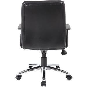 Boss B431-BK Retro Task Chair with Black T-Arms - Black Vinyl Seat - Black Vinyl Back - Chrome, Black Chrome Frame - 5-star Base - 1 Each. Picture 8