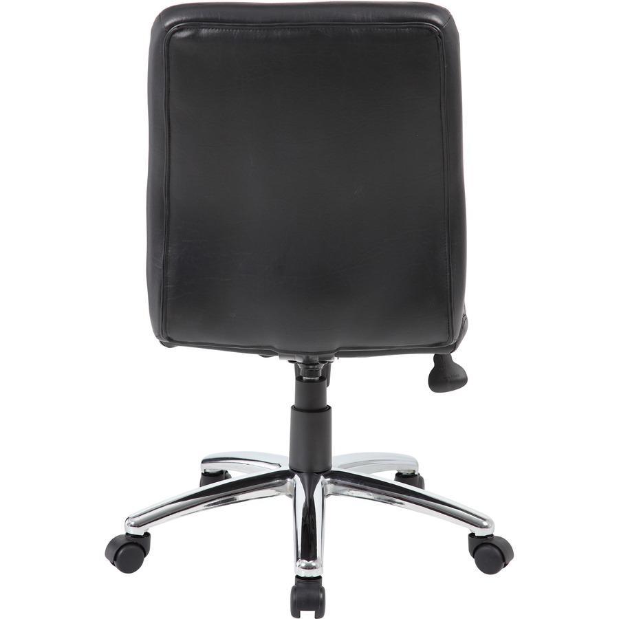 Boss B430 Task Chair - Black Vinyl Seat - Black Vinyl Back - Chrome, Black Chrome Frame - 5-star Base - 1 Each. Picture 6