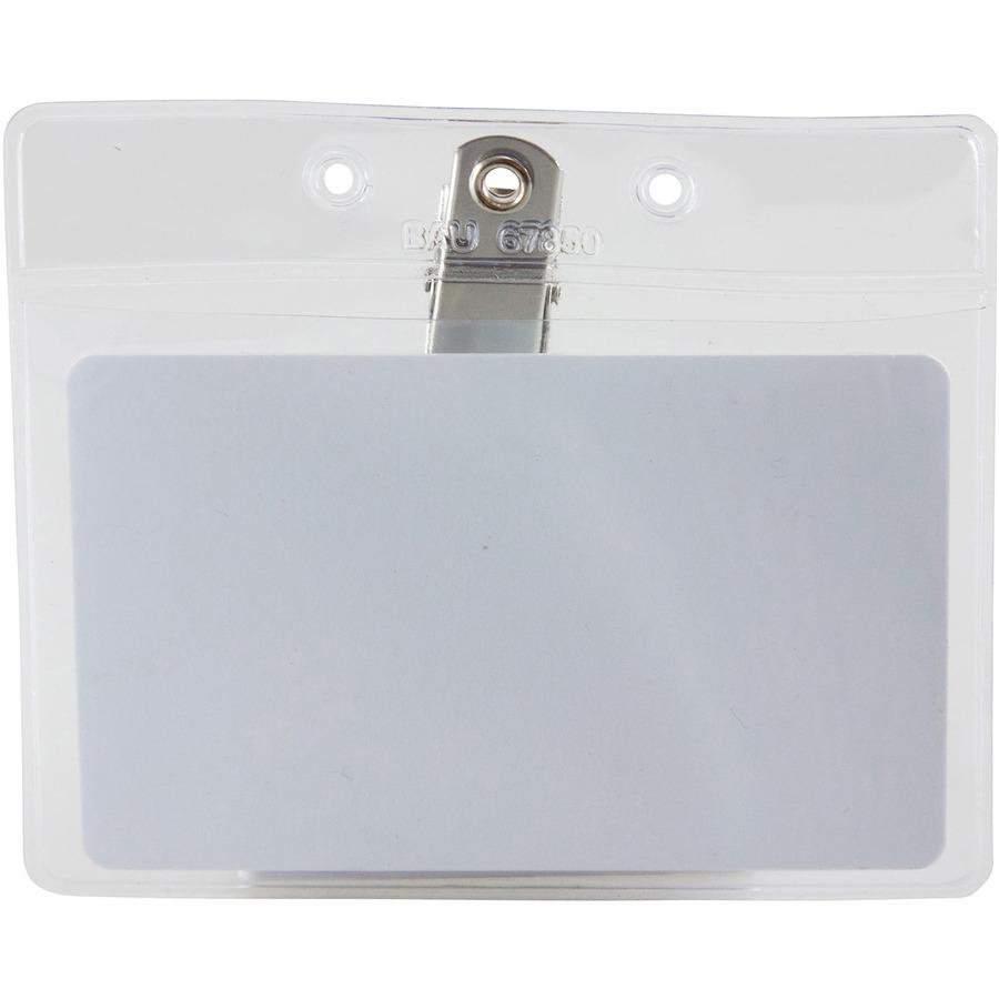 """SICURIX Horizontal Badge Holder with Clip - 2.5"""" x 3.5"""" x - Vinyl - 50 / Pack - Clear. Picture 4"""