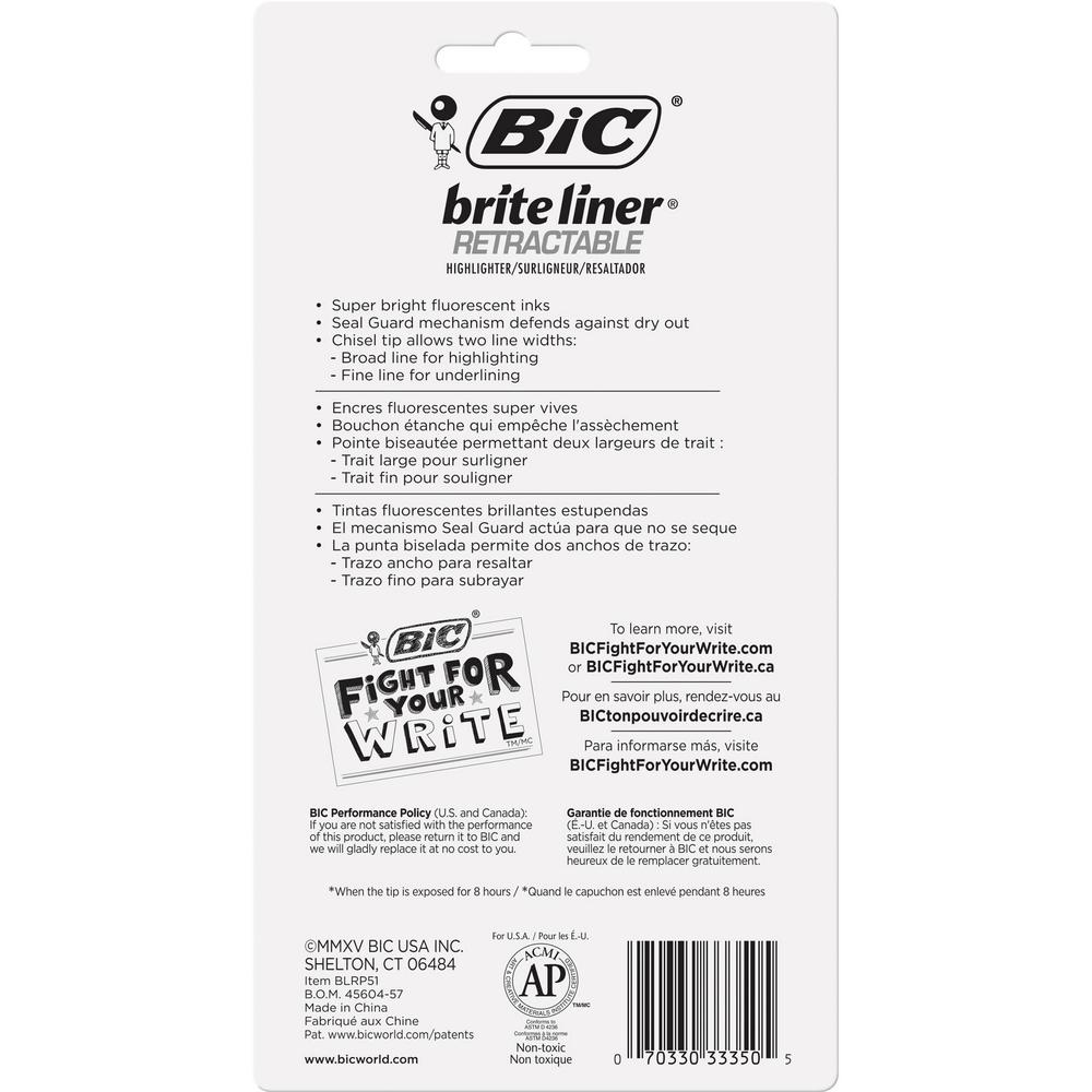 BIC Brite Liner Retractable Highlighters - Chisel Marker Point Style - Retractable - Assorted - 5 / Set. Picture 4