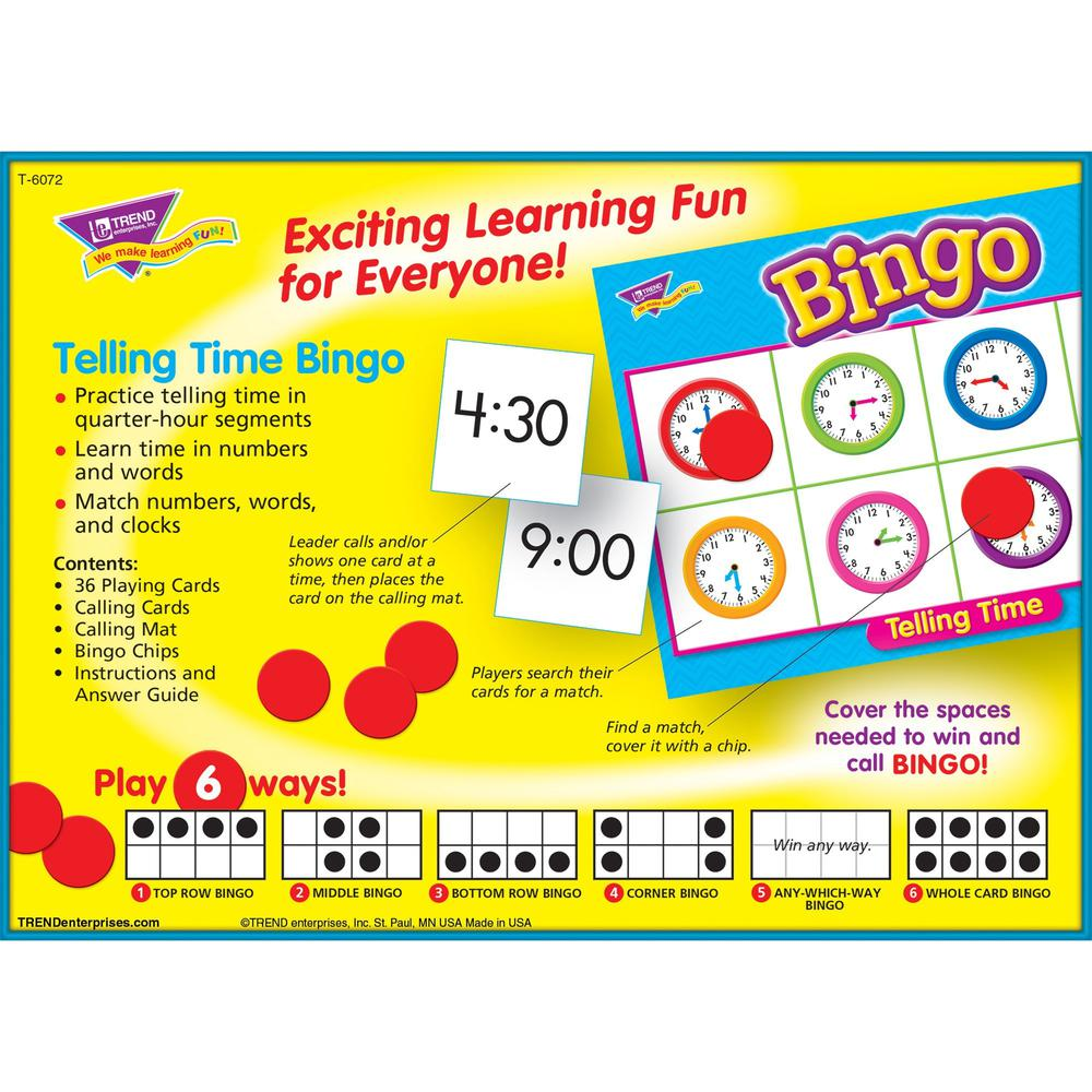Trend Telling Time Bingo Game - Theme/Subject: Learning - Skill Learning: Time, Language - 6-8 Year. Picture 4
