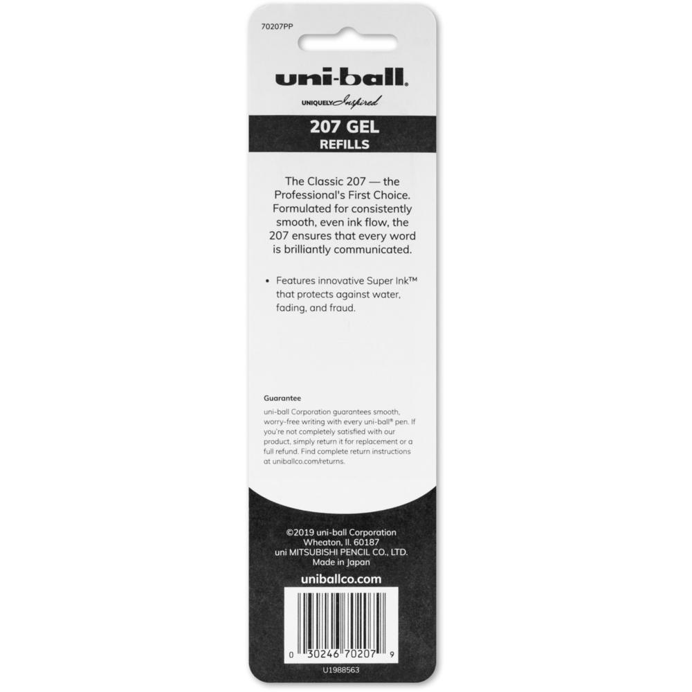 uni-ball 207 Retractable Gel - Refill 2pk - 0.70 mm, Medium Point - Black Ink - Super Ink - 2 / Pack. Picture 2