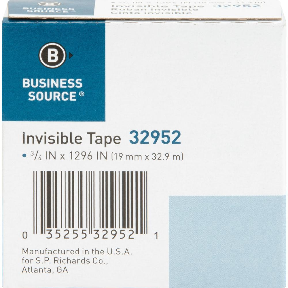 """Business Source Invisible Tape Dispenser Refill Roll - 36 yd Length x 0.75"""" Width - 1"""" Core - 1 Roll - Clear. Picture 7"""