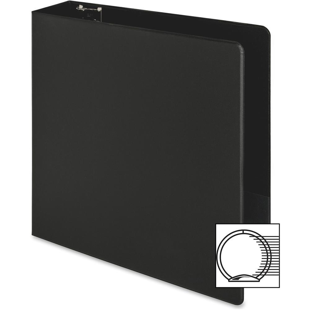 "Business Source Basic Round-ring Binder - 3"" Binder Capacity - Letter - 8 1/2"" x 11"" Sheet Size - 3 x Round Ring Fastener(s) - Inside Front & Back Pocket(s) - Vinyl - Black - 1.20 lb - Exposed Rivet, . Picture 6"