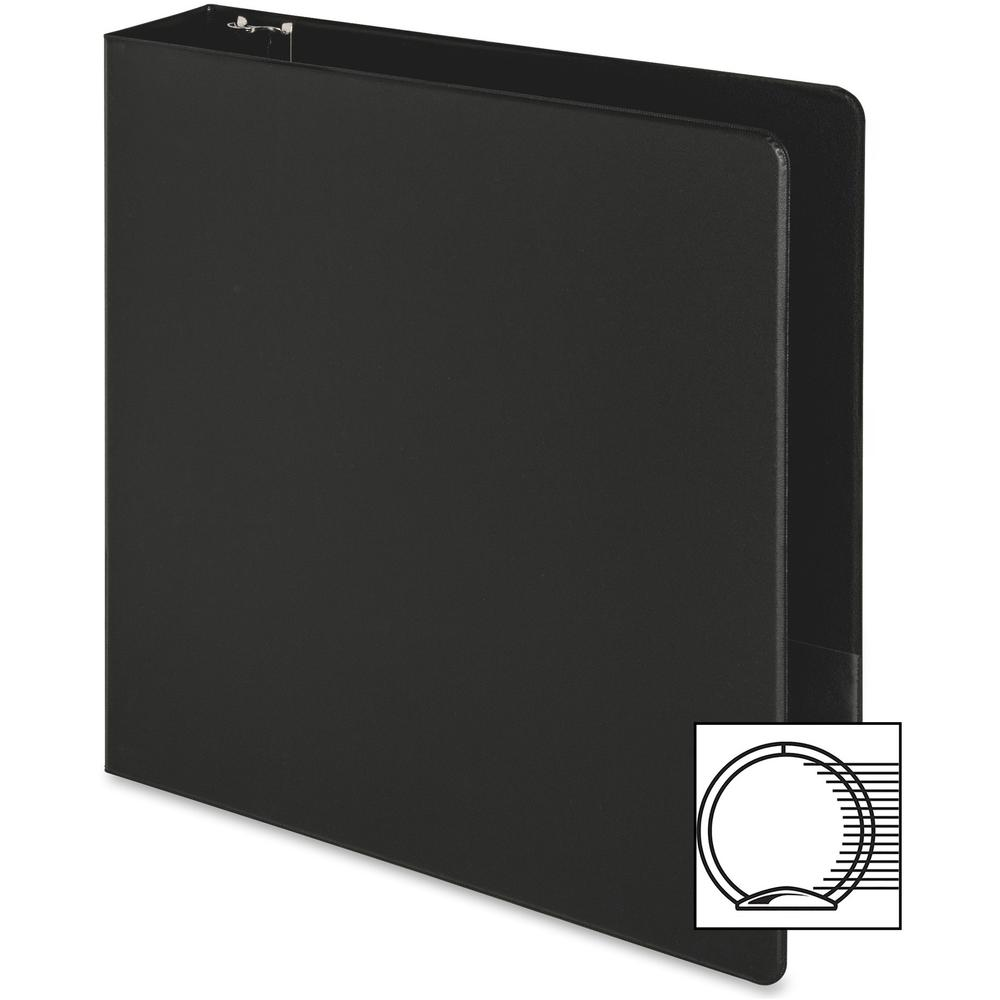 "Business Source Basic Round-ring Binder - 2"" Binder Capacity - Letter - 8 1/2"" x 11"" Sheet Size - 3 x Round Ring Fastener(s) - Inside Front & Back Pocket(s) - Vinyl - Black - 1 lb - Recycled - Exposed. Picture 9"