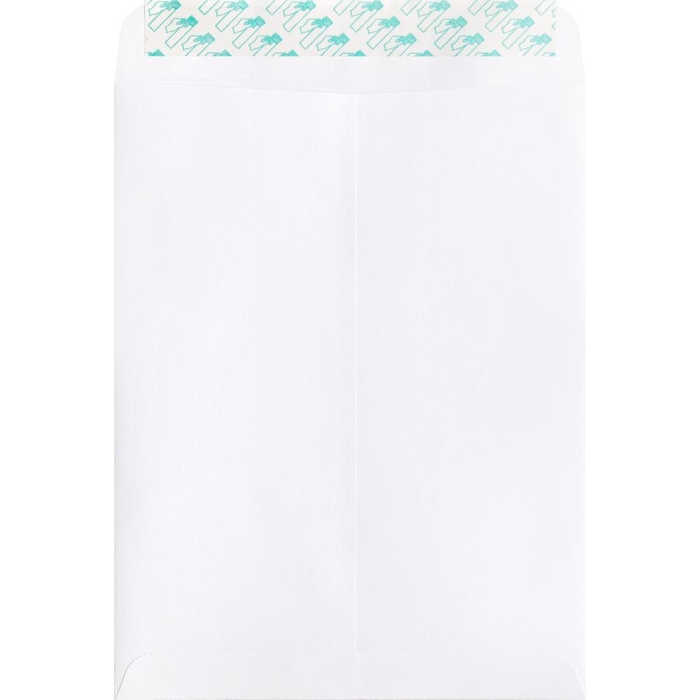 "Business Source Self Sealing Catalog Envelope - Catalog - 9"" Width x 12"" Length - 28 lb - Peel & Seal - Wove - 100 / Box - White. Picture 3"