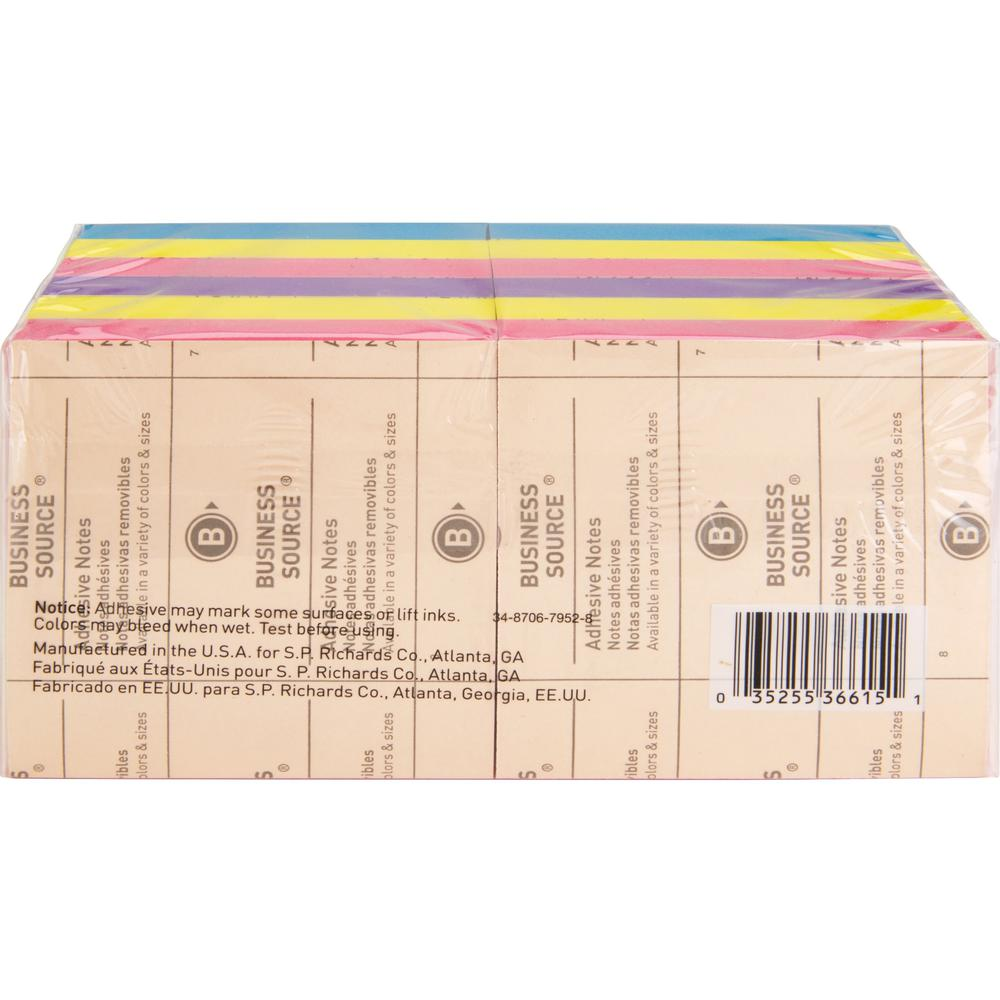"""Business Source 3x3 Extreme Colors Adhesive Notes - 100 - 3"""" x 3"""" - Square - Assorted - Repositionable, Solvent-free Adhesive - 12 / Pack. Picture 6"""
