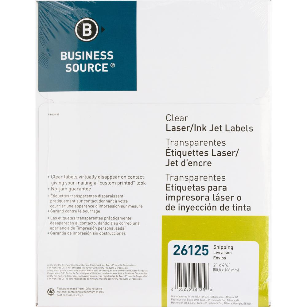 """Business Source Clear Shipping Labels - Permanent Adhesive - 2"""" x 4.25"""" Length - Rectangle - Laser - Clear - 10 / Sheet - 500 / Pack. Picture 3"""