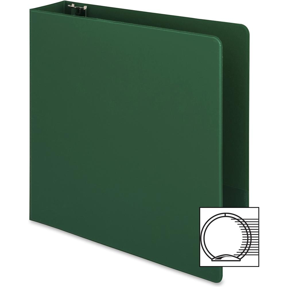 """Business Source Basic Round-ring Binder - 2"""" Binder Capacity - Letter - 8 1/2"""" x 11"""" Sheet Size - 3 x Round Ring Fastener(s) - Vinyl - Green - Open and Closed Triggers - 1 Each. Picture 12"""