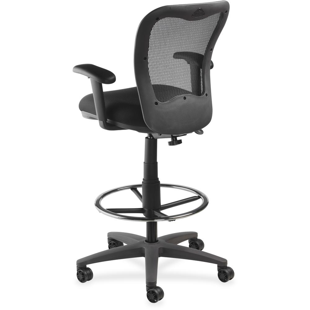 Lorell Mesh Back Drafting Stool Fabric Black Seat 5