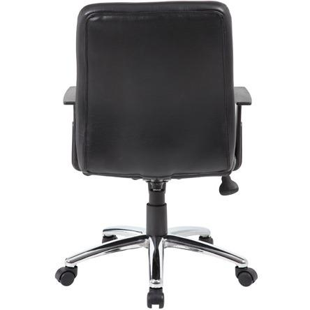 Boss B431-BK Retro Task Chair with Black T-Arms - Black Vinyl Seat - Black Vinyl Back - Chrome, Black Chrome Frame - 5-star Base - 1 Each. Picture 6