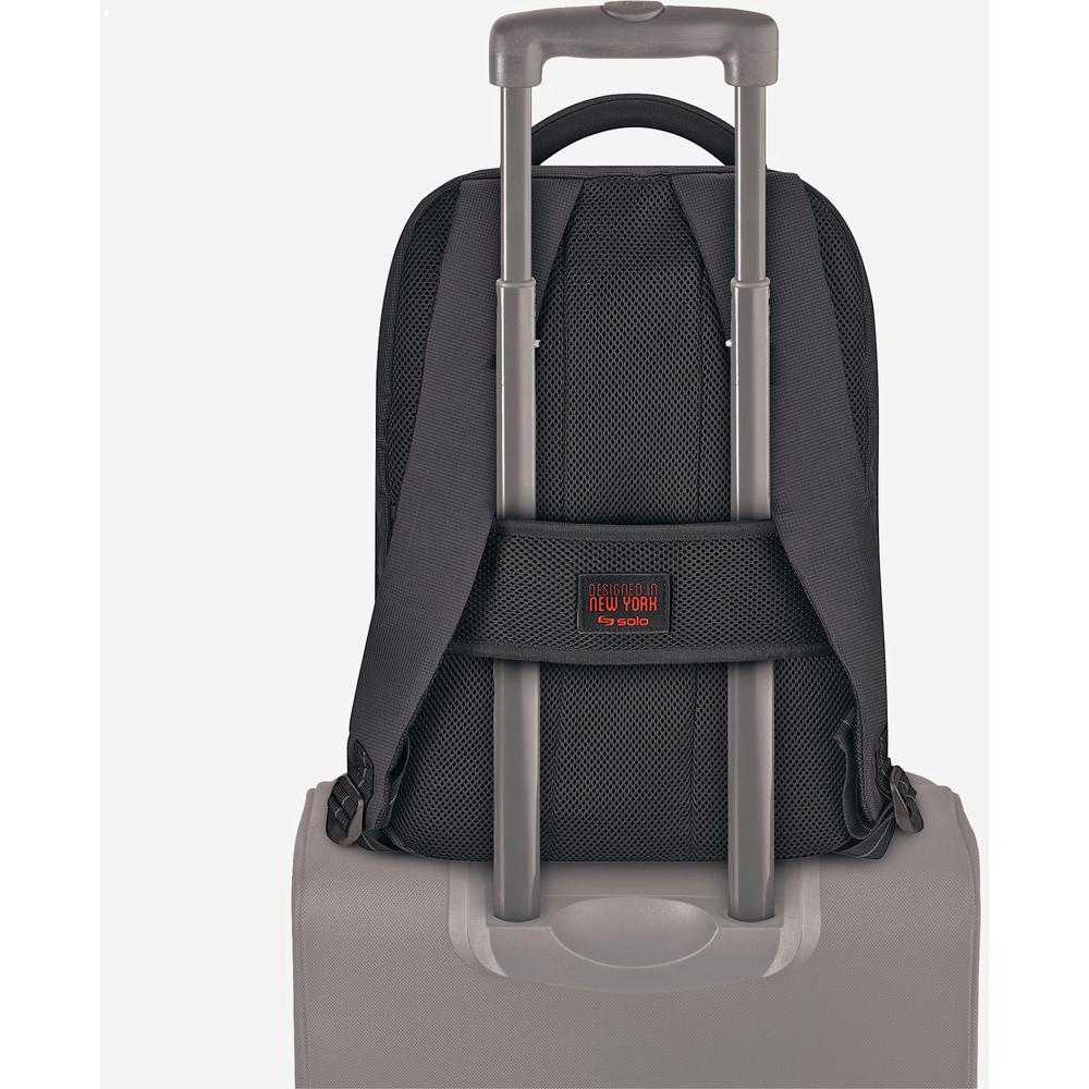 """Solo Aegis Carrying Case (Backpack) for 15.6"""" Notebook - Black, Red - Bump Resistant Interior, Scratch Resistant Interior - Handle, Shoulder Strap - 19.5"""" Height x 14.5"""" Width x 8"""" Depth. Picture 3"""