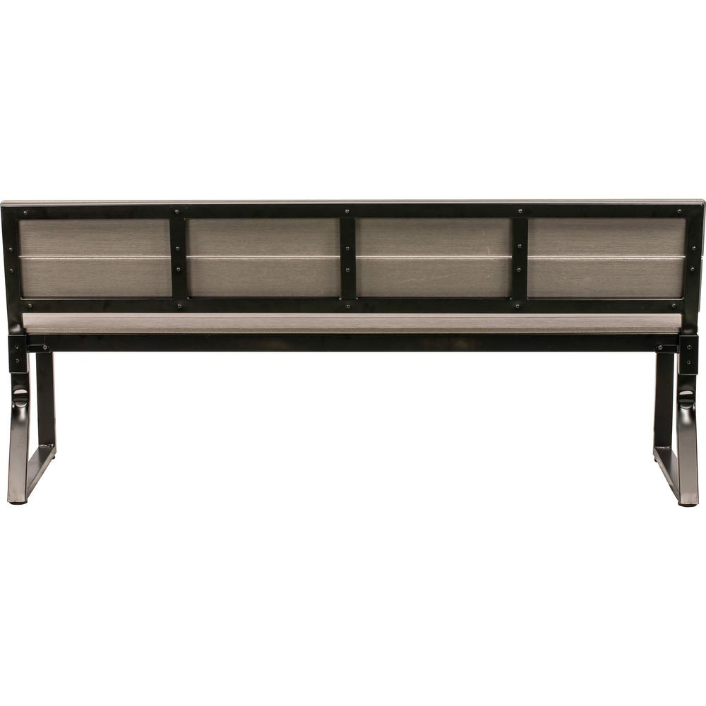 Lorell Charcoal Outdoor Bench with Backrest - Charcoal Faux Wood, Polystyrene Seat - Charcoal Faux Wood, Polystyrene Back - 1 Each. Picture 2