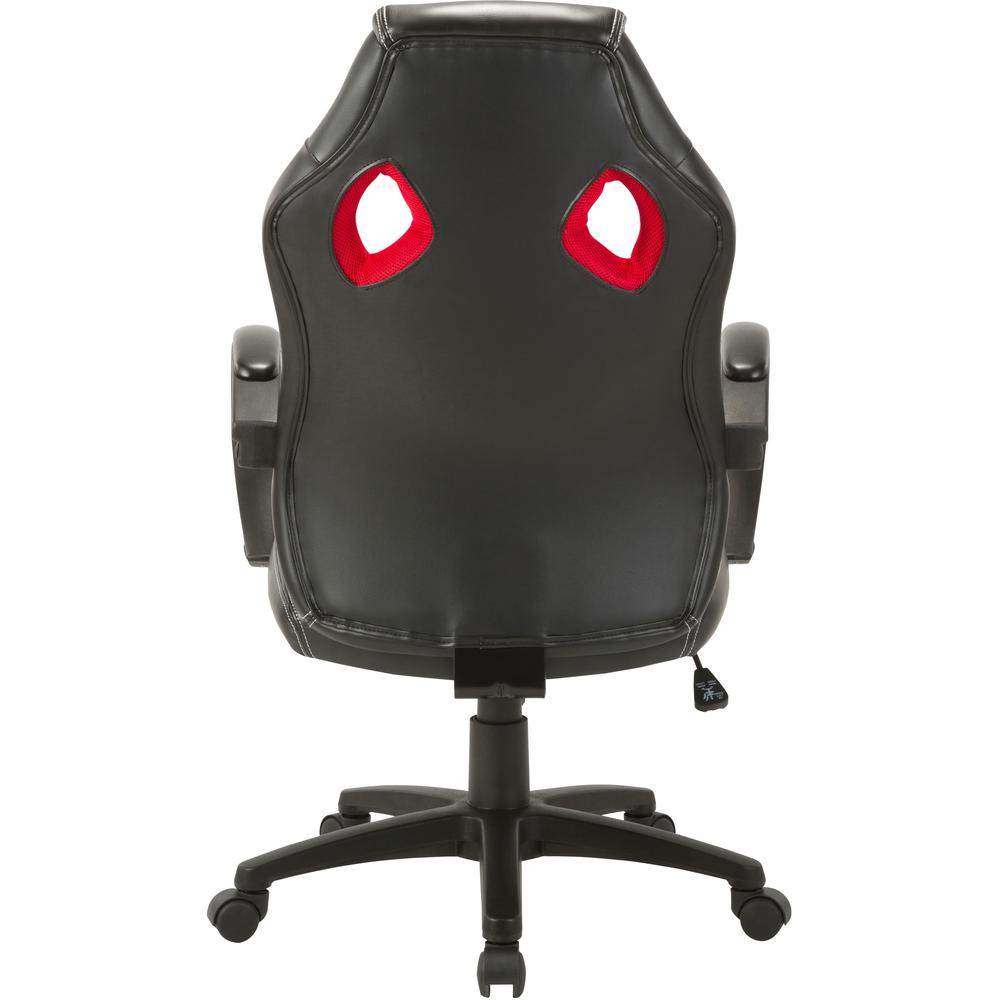 Lorell High-back 2-Color Economy Gaming Chair - Mesh, Polyurethane, Nylon - Black, Red. Picture 7
