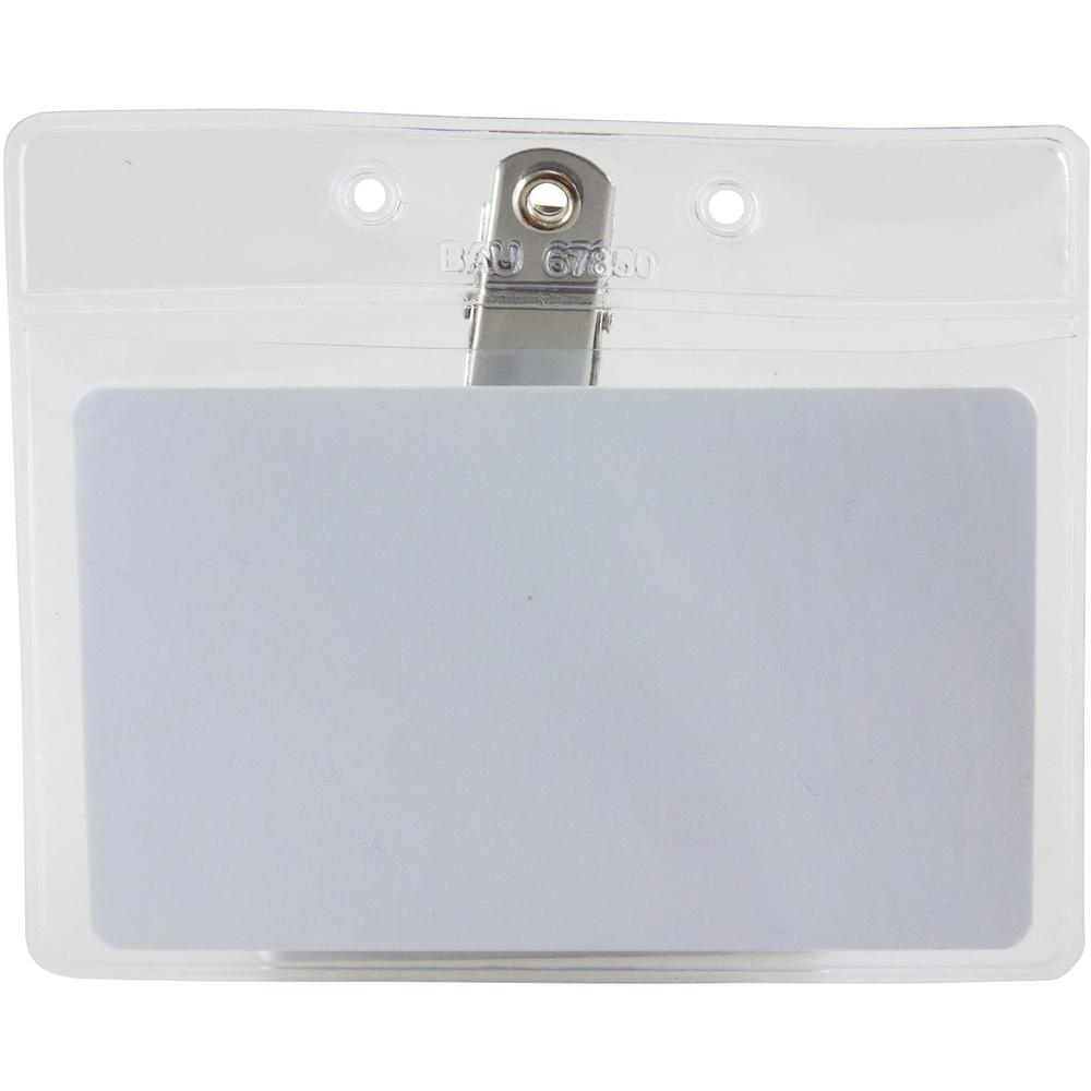 """SICURIX Horizontal Badge Holder with Clip - 2.5"""" x 3.5"""" x - Vinyl - 50 / Pack - Clear. Picture 5"""