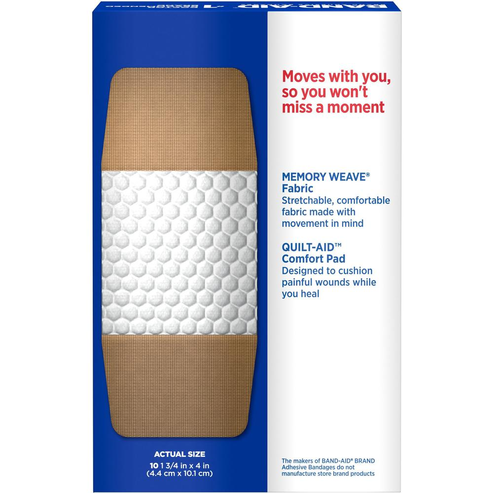 "Band-Aid Flex Extra Large Bandages - 1.25"" x 4"" - 10/Box - Tan. Picture 4"