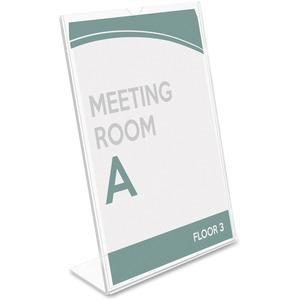 """Deflecto Superior Image Slanted Sign Holders - 1 Each - 7"""" Width x 5"""" Height - Top Loading - Plastic - Clear. Picture 11"""