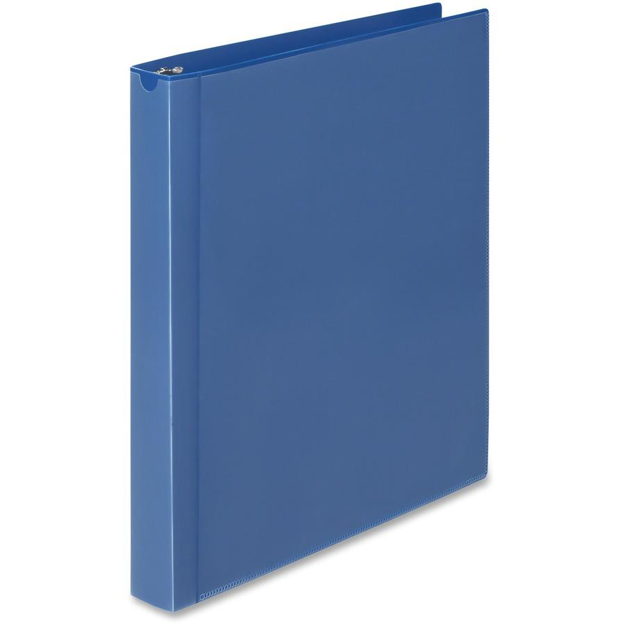 "Wilson Jones Flex Poly View Binder - 1"" Binder Capacity - Letter - 8 1/2"" x 11"" Sheet Size - 175 Sheet Capacity - Round Ring Fastener(s) - 1 Internal Pocket(s) - Polypropylene - Blue - PVC-free, Tear . Picture 5"