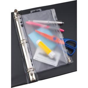 "Oxford Zipper Binder Pockets - 10 1/2"" x 8"" Sheet - Ring Binder - Rectangular - Clear, White - Poly - 1 Each. Picture 5"