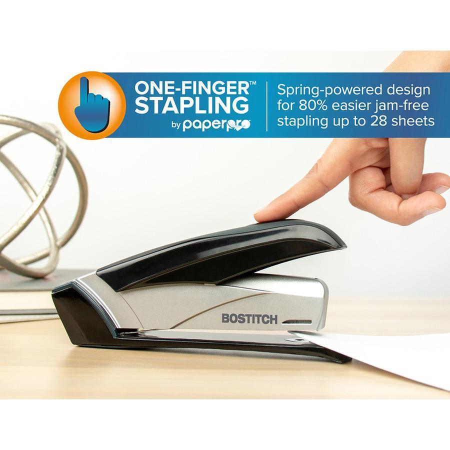 "Bostitch Spring-Powered 28 Premium Desktop Stapler - 28 Sheets Capacity - 210 Staple Capacity - Full Strip - 1/4"" Staple Size - Black, Silver. Picture 8"