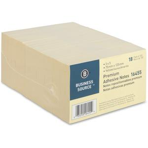 """Business Source Repositionable Notes - 3"""" x 5"""" - Rectangle - Yellow - Repositionable, Solvent-free Adhesive - 18 / Pack. Picture 5"""