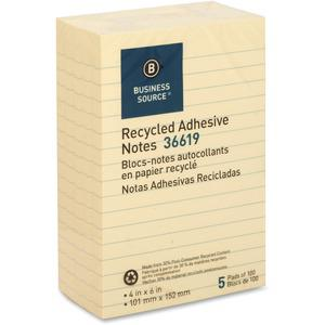 """Business Source Yellow Adhesive Notes - 4"""" x 6"""" - Rectangle - Ruled - Yellow - Self-adhesive, Removable - 5 / Pack. Picture 3"""