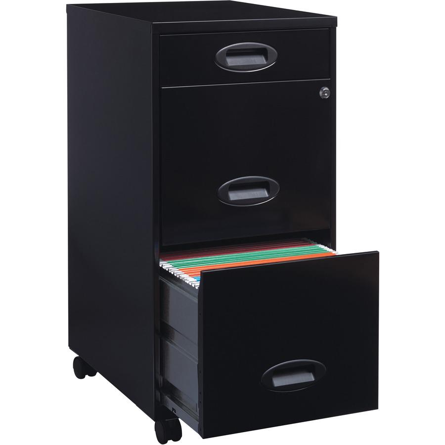 """Lorell SOHO 18"""" 3-Drawer File Cabinet - 14.3"""" x 18"""" x 27"""" - 3 x Drawer(s) for Accessories, File - Letter - Locking Drawer, Glide Suspension - Black - Baked Enamel - Plastic, Steel - Recycled - Assembl. Picture 10"""