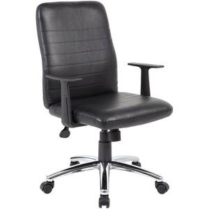Boss B431-BK Retro Task Chair with Black T-Arms - Black Vinyl Seat - Black Vinyl Back - Chrome, Black Chrome Frame - 5-star Base - 1 Each. Picture 3
