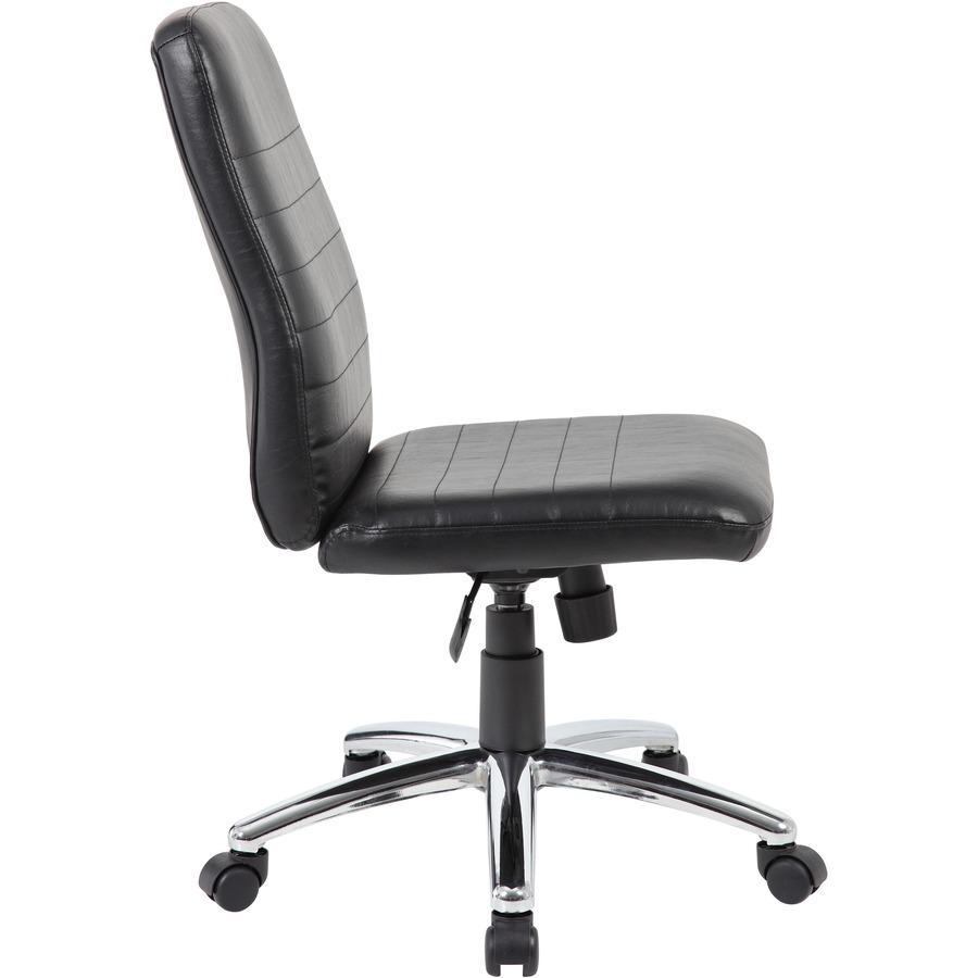 Boss B430 Task Chair - Black Vinyl Seat - Black Vinyl Back - Chrome, Black Chrome Frame - 5-star Base - 1 Each. Picture 9