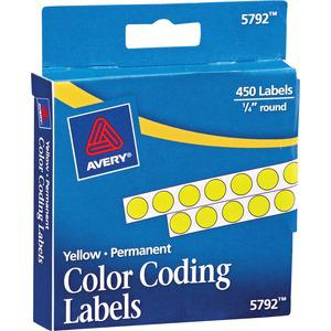 """Avery® 1/4"""" Color-Coding Labels - 1/4"""" Diameter - Permanent Adhesive - Round - Yellow - 450 / Pack. Picture 3"""