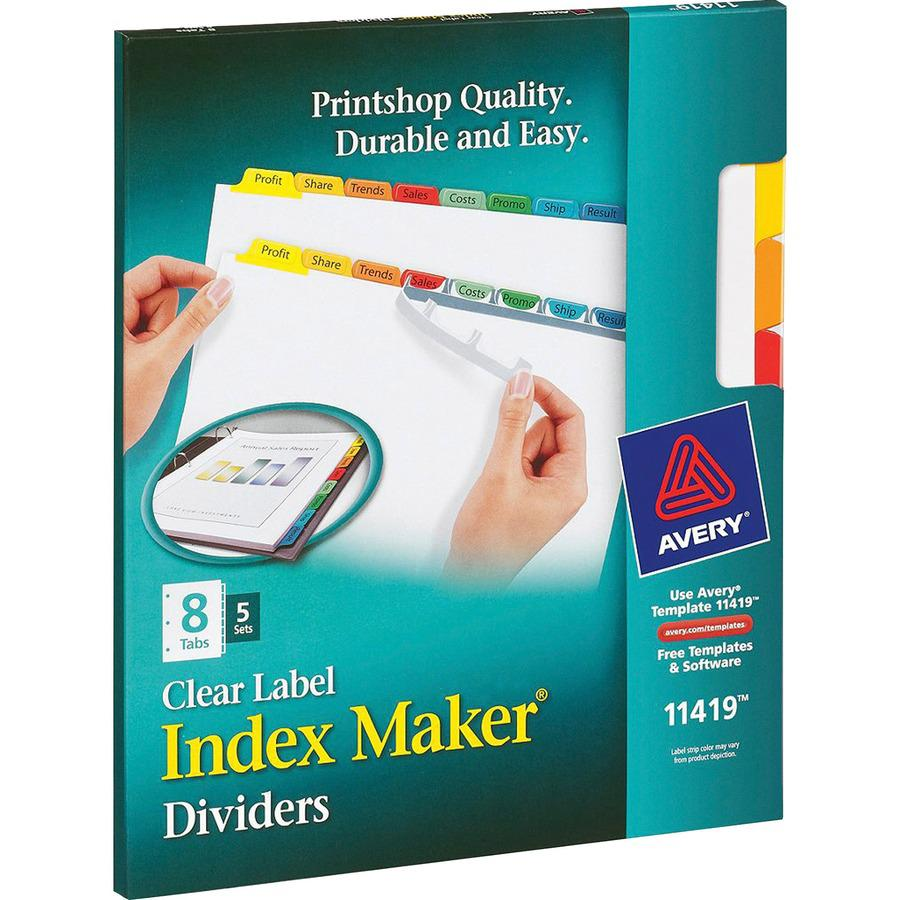 "Avery® Index Maker Index Divider - 40 x Divider(s) - 8 - 8 Tab(s)/Set - 8.5"" Divider Width x 11"" Divider Length - 3 Hole Punched - White Paper Divider - Multicolor Paper Tab(s) - 5 / Set. Picture 7"