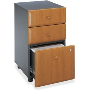 "Bush Business Furniture Series A 3 Drawer Mobile Pedestal - Assembled - 15.5"" x 20.3"" x 28.2"" - 3 x File Drawer(s) - Material: Pressboard, Melamine, Hardwood, Engineered Wood, Wood - Finish: Laminate,. Picture 9"