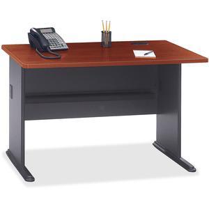 Bush Business Furniture Series A 48W Desk, Hansen Cherry/Galaxy. Picture 4